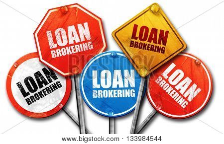 loan brokering, 3D rendering, street signs