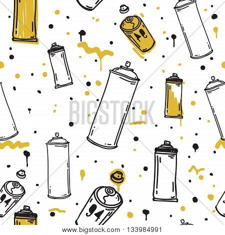 Graffiti black graphic spray can cartoon doodle, sketch grunge vector illustration. Colorful seamless vector pattern in black, white, yellow