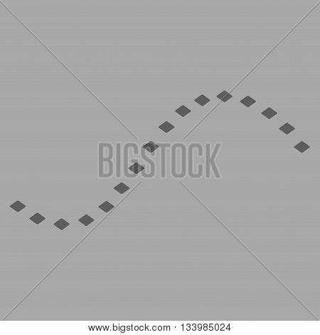 Dotted Function Line vector toolbar icon. Style is flat icon symbol, dark gray color, silver background, rhombus dots.