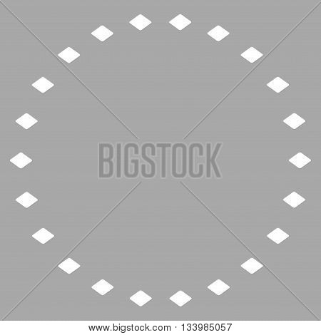 Dotted Circle vector toolbar icon. Style is flat icon symbol, white color, silver background, rhombus dots.