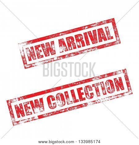 New Arrival stamp of red grunge square vintage rubber print. New Collection stamp. Red ink vector imprint.