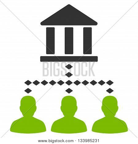 Bank Building Client Links vector toolbar icon. Style is bicolor flat icon symbol, eco green and gray colors, white background, rhombus dots.
