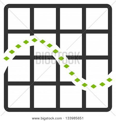 Dotted Function Chart vector toolbar icon. Style is bicolor flat icon symbol, eco green and gray colors, white background, rhombus dots.