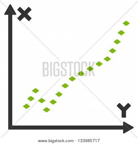 Dotted Function Plot vector toolbar icon. Style is bicolor flat icon symbol, eco green and gray colors, white background, rhombus dots.