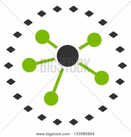 Dotted Links Diagram vector toolbar icon. Style is bicolor flat icon symbol, eco green and gray colors, white background, rhombus dots.
