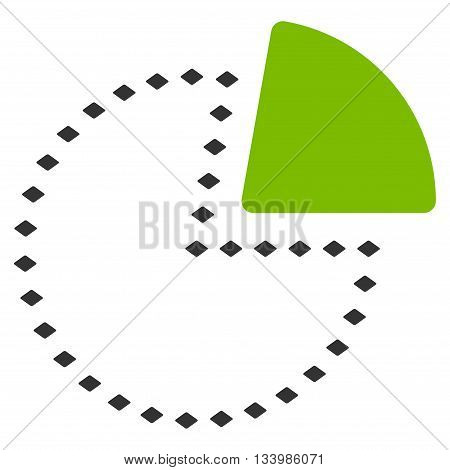 Dotted Pie Chart vector toolbar icon. Style is bicolor flat icon symbol, eco green and gray colors, white background, rhombus dots.