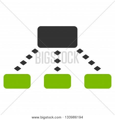 Dotted Scheme vector toolbar icon. Style is bicolor flat icon symbol, eco green and gray colors, white background, rhombus dots.