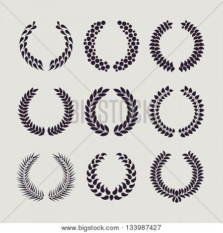 Set of silhouettes of laurel wreaths and branches, vector illustration