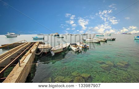Boats in the bay island of Zakynthos, Greece