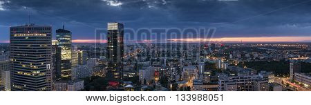 Panorama of Warsaw downtown during the night Poland