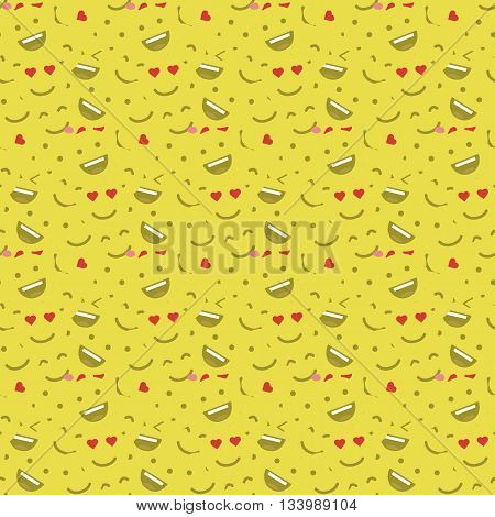 Cute smiley face, in love face seamless pattern background. Pattern of Emoticons. Pattern of Emoji. Flat style illustrations - stock vector