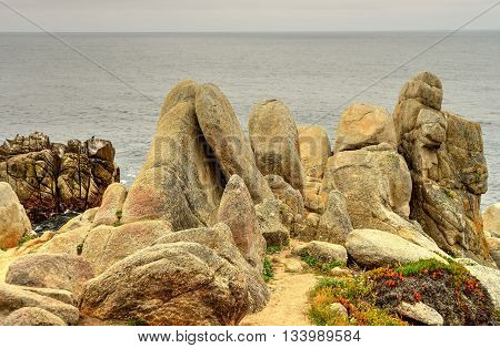 Weathered sandstone boulders at Big Sur California