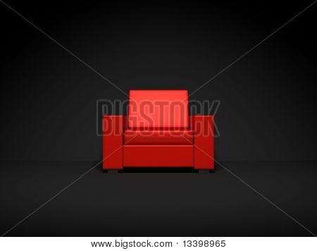 Red chair in dark room