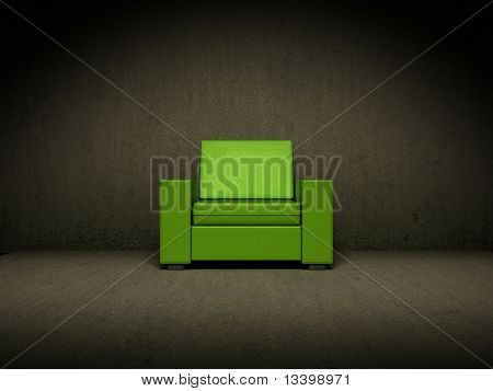 Green chair in dark room
