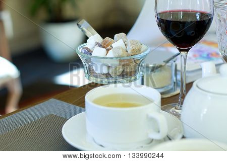 Table set with dishware in Italian restaurant