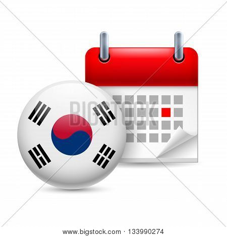 Calendar and round flag icon. National holiday in South Korea