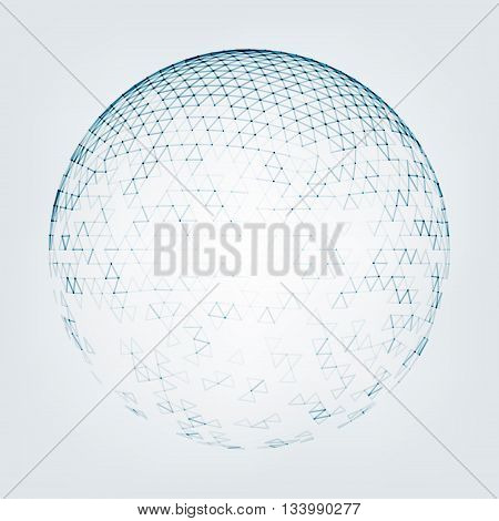 Vector polygonal background. Illustration of abstract background with low poly sphere. Abstract design for banner, poster, flyer.