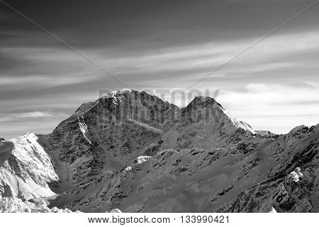 Black And White High Mountains In Evening