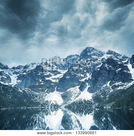 Majestic mountain with a lake