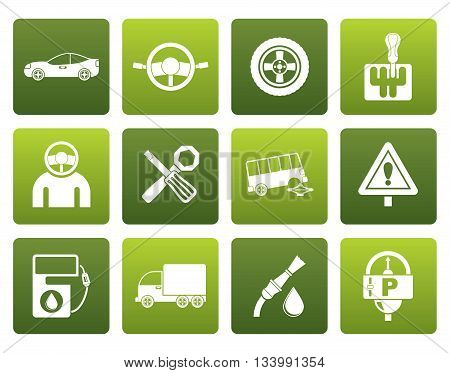 Flat car services and transportation icons - vector icon set
