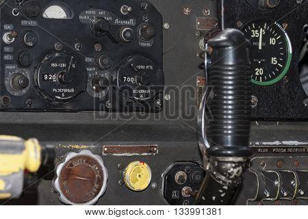 Bialystok Poland June 12 2016 Joystick old airplane cockpit