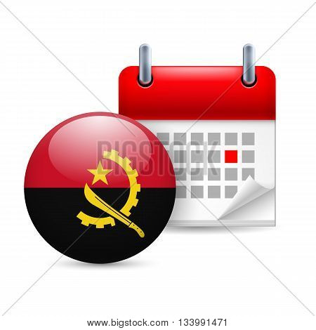 Calendar and round Angolan flag icon. National holiday in Angola