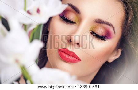 Close up portrait of a brunette beauty