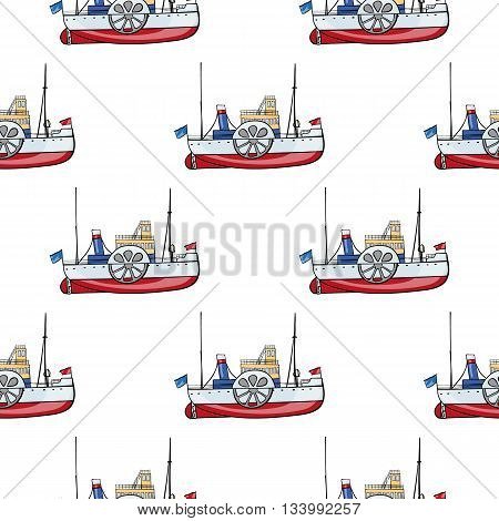 vector seamless pattern water transport. kids toy steamship