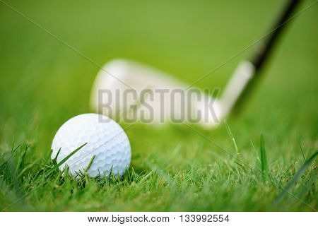 Getting ready to hitball. Close up of golf ball carefully lying on golf field with club in the background