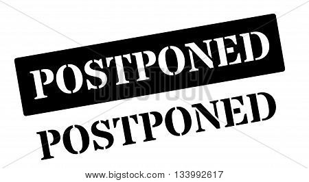 Postponed Black Rubber Stamp On White