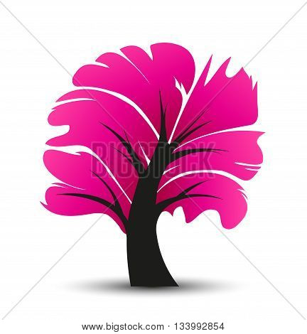 Vector abstract illustration of a tree, decorative pink tree with leaves