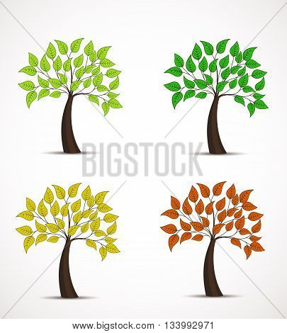 Vector tree in four colors, decorative tree with leaves