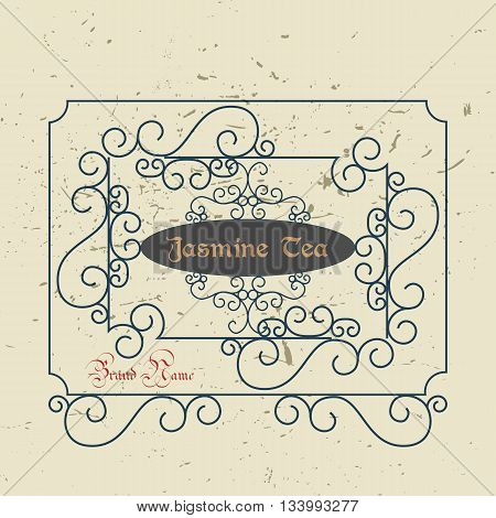 Vintage Victorian Greeting Card Template with floral borders and frames