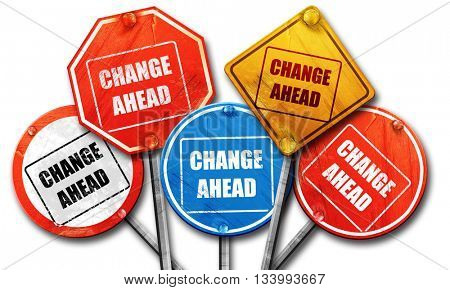 Change ahead sign, 3D rendering, street signs