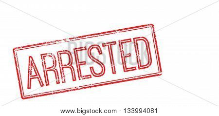 Arrested Red Rubber Stamp On White