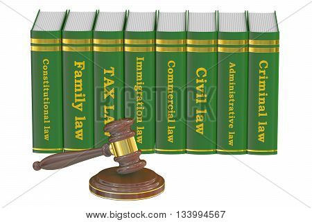 Wooden Gavel and Law Books 3D rendering isolated on white background