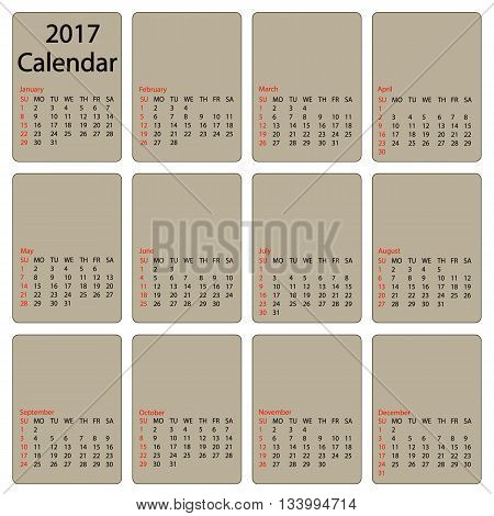 2017 calendar template. First day Sunday. Illustration in vector format.