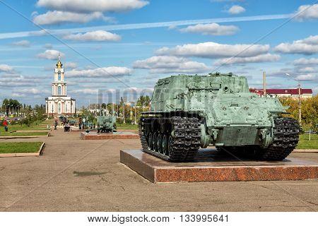 Kursk, Russia - October 1, 2015: Memorial complex Battle of Kursk. ISU-152 - Tank destroyer