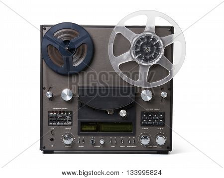 Analog music player with two coils for the tape isolated on white background