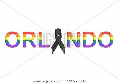Orlando nightclub shooting concept 3D rendering on white background