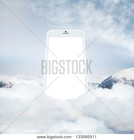 Huge smart phone with blank white screen on cloudy mountain top. Mock up 3D Rendering