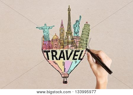 Travel concept with man's hand drawing sketch on light textured background