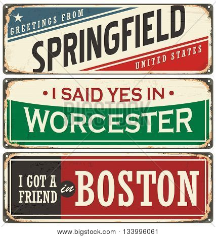 Vintage tin sign collection with USA city names. Retro souvenir sign or postcard templates. Traveling theme.