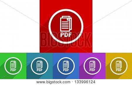 pdf vector icons set, flat design colored internet buttons, web and mobile app illustration,