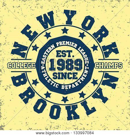 Grunge Sport t-shirt graphic design Vintage Sport print stamp New York sports wear typography emblem Creative design Vector