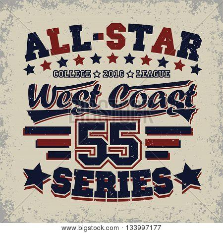 Grunge Sport t-shirt graphic design grunge all-star league print stamp vintage sport typography emblem Creative design label background vector
