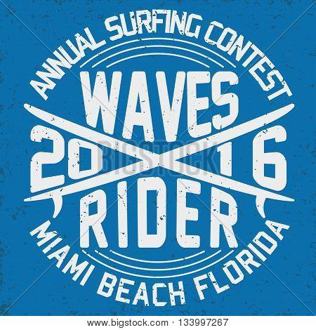 Grunge Surfing t-shirt graphic design vintage surfing print stamp Florida surfers wear typography emblem Creative design Vector