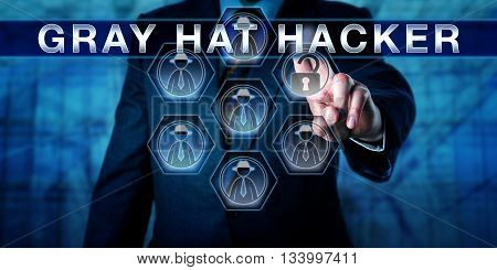 Administrator touching GRAY HAT HACKER on a virtual interactive control display. Cybersecurity and information technology concept for a cracker exploiting a security weakness to improve the system.