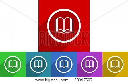 book vector icons set, flat design colored internet buttons, web and mobile app illustration