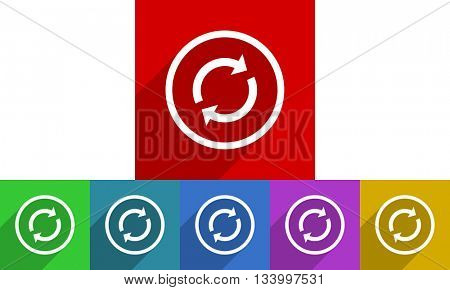 reload vector icons set, flat design colored internet buttons, web and mobile app illustration